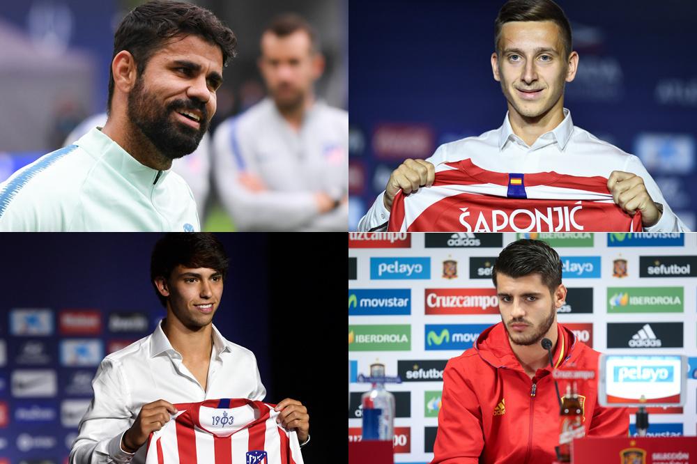 Vier spitsen voor twee posities vooraan bij Atlético Madrid: Diego Costa, Saponjic, João Félix en Morata., belgaimage