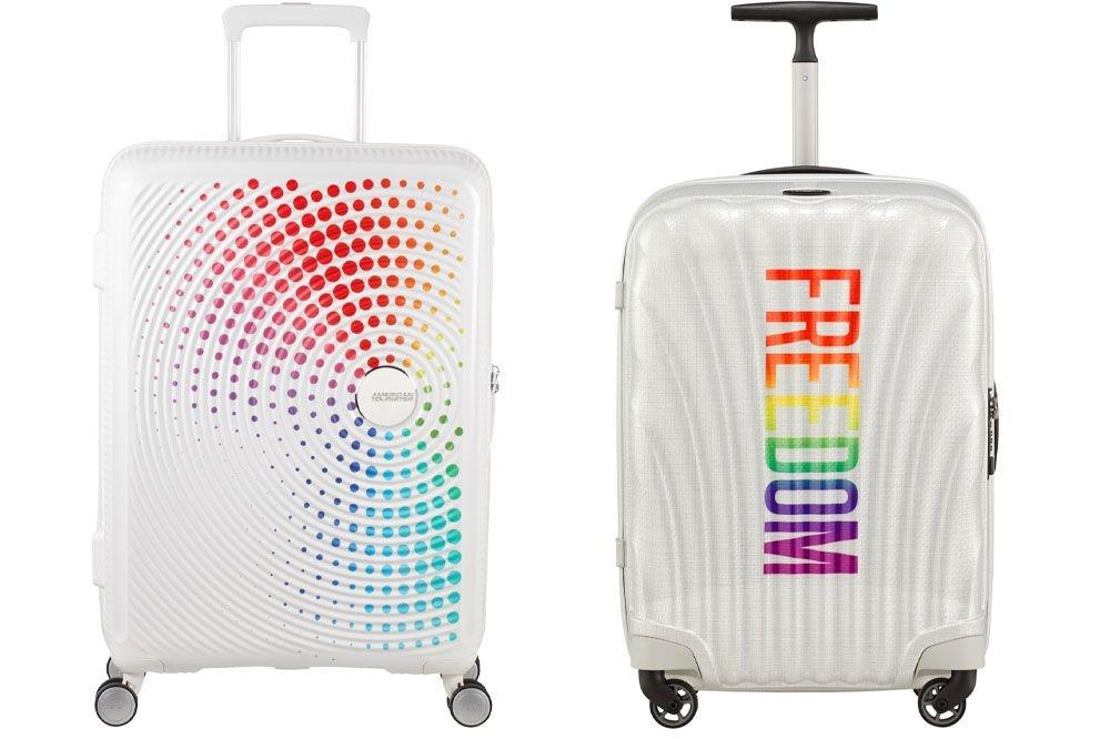 Ook de reiskoffermerken Samsonite en American Tourister hijsen de regenboogvlag., Samsonite en American Tourister