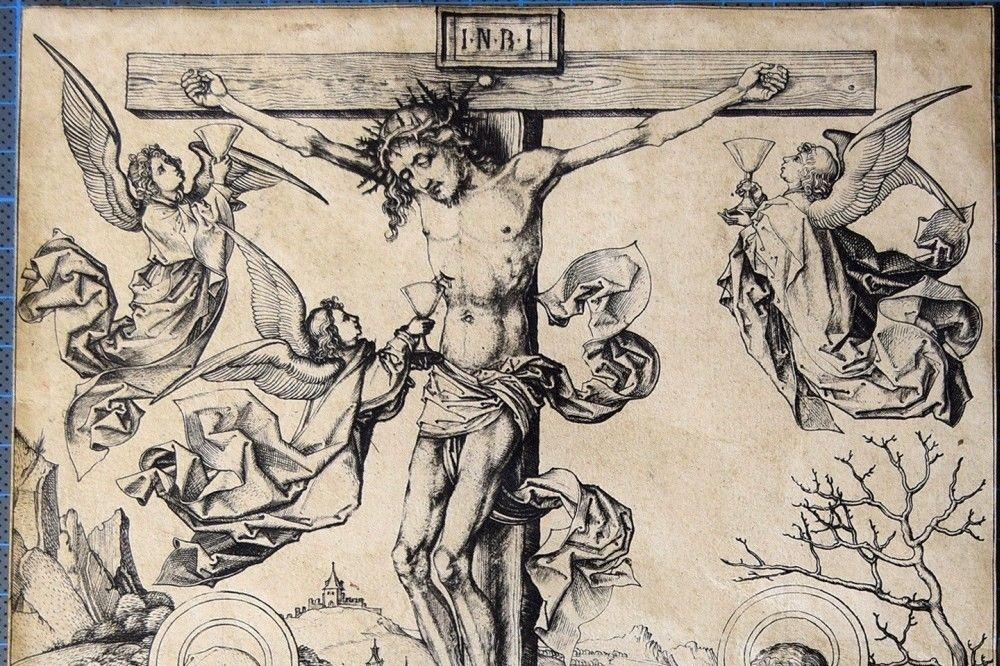 Kruisiging met vier engelen, Martin Schongauer, ca. 1480/1485., Rijksmuseum