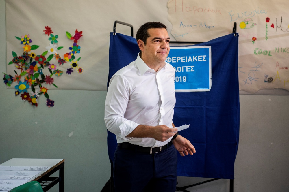 De Griekse premier Alexis Tsipras brengt zijn stem uit, 26 mei 2019, Belga