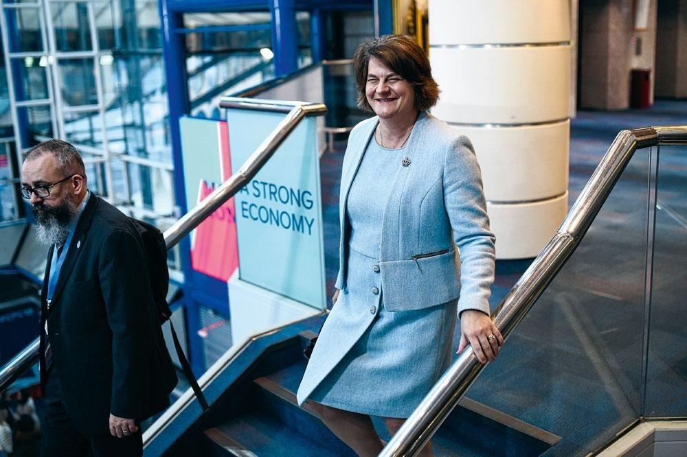 Les députés du Parti unioniste démocrate (DUP) dirigé par Arlene Foster. La formation d'Irlande du Nord est membre de la coalition gouvernementale., BELGAIMAGE
