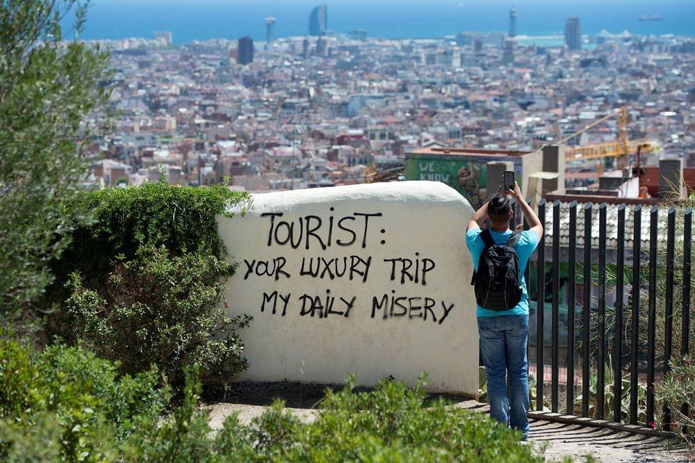 """A Barcelone, l'afflux massif de touristes conduit à des manifestations de plus en plus fréquentes de """"tourismophobie"""", BELGAIMAGE"""