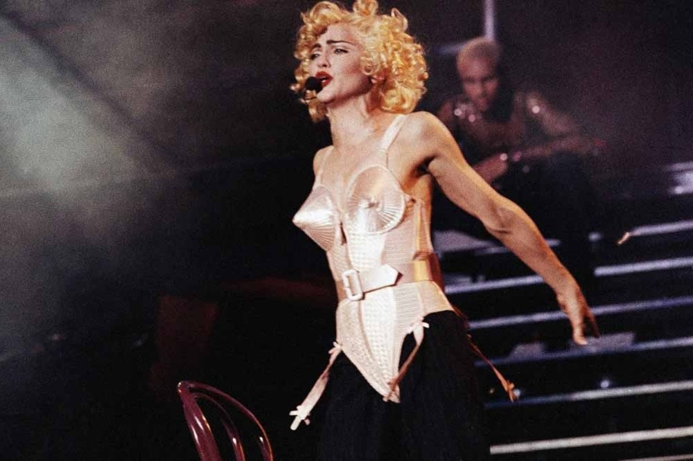 Pop star Madonna goes into a frenzy before a full Vicente Calderon Stadium in Madrid on July 27, 1990 during the first of three performances in Spain. (AP Photo/Jimmy Rubio), ISOPIX