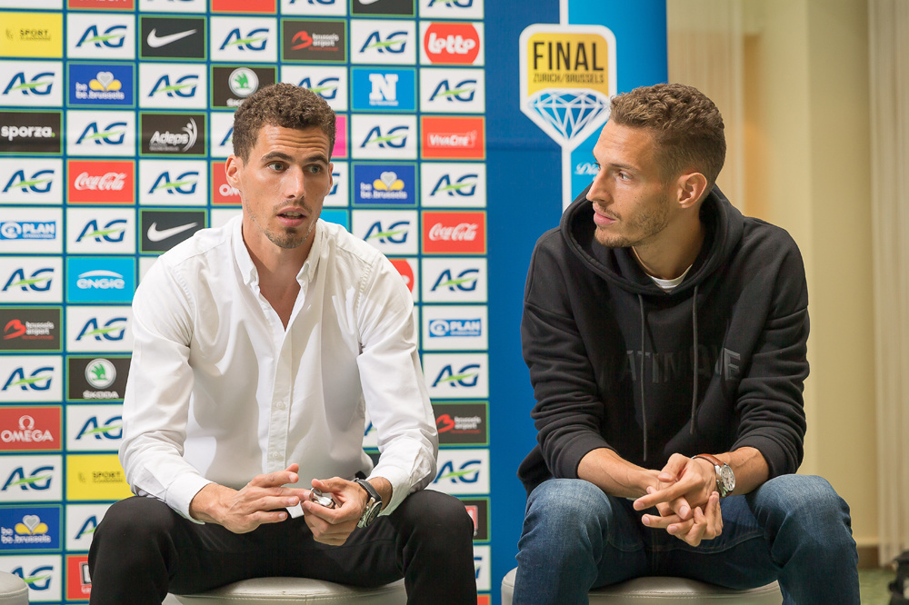 Kevin en Dylan Borlée op het persmoment., belgaimage