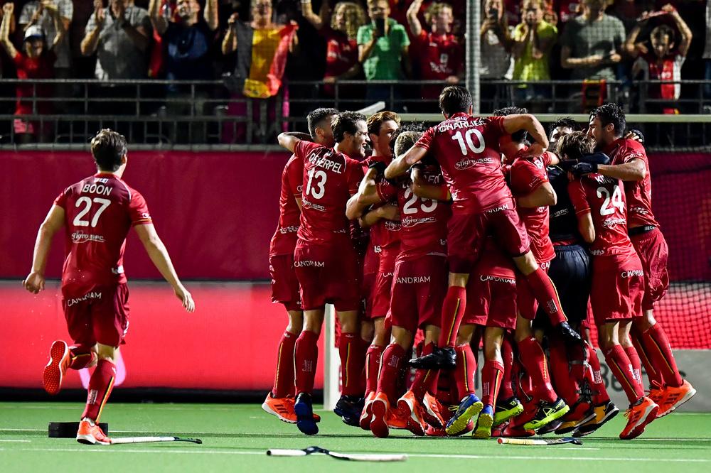 De Red Lions wonnen met 5-0 van Spanje in de EK-finale., belgaimage