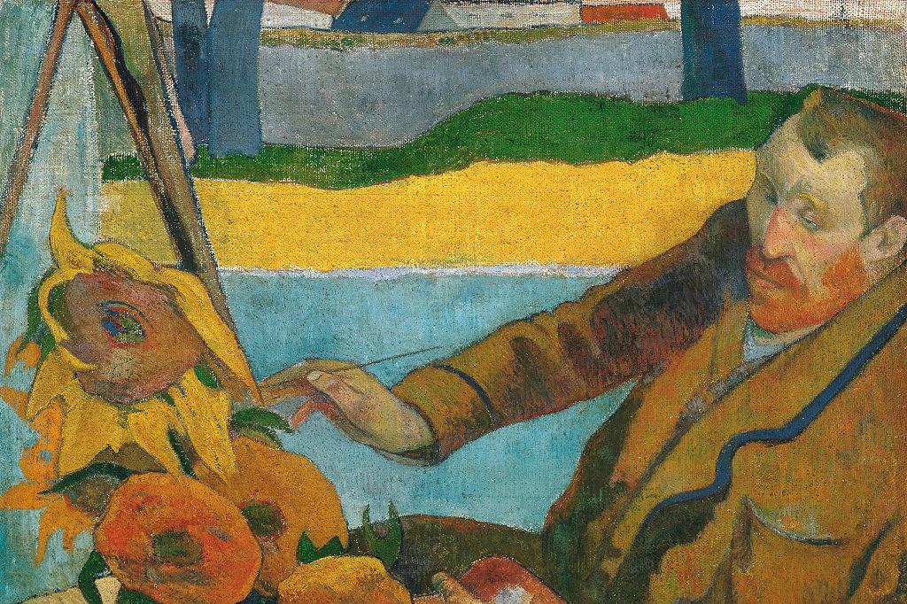 """""""Van Gogh zonnebloemen schilderend"""" door Paul Gauguin., Getty"""