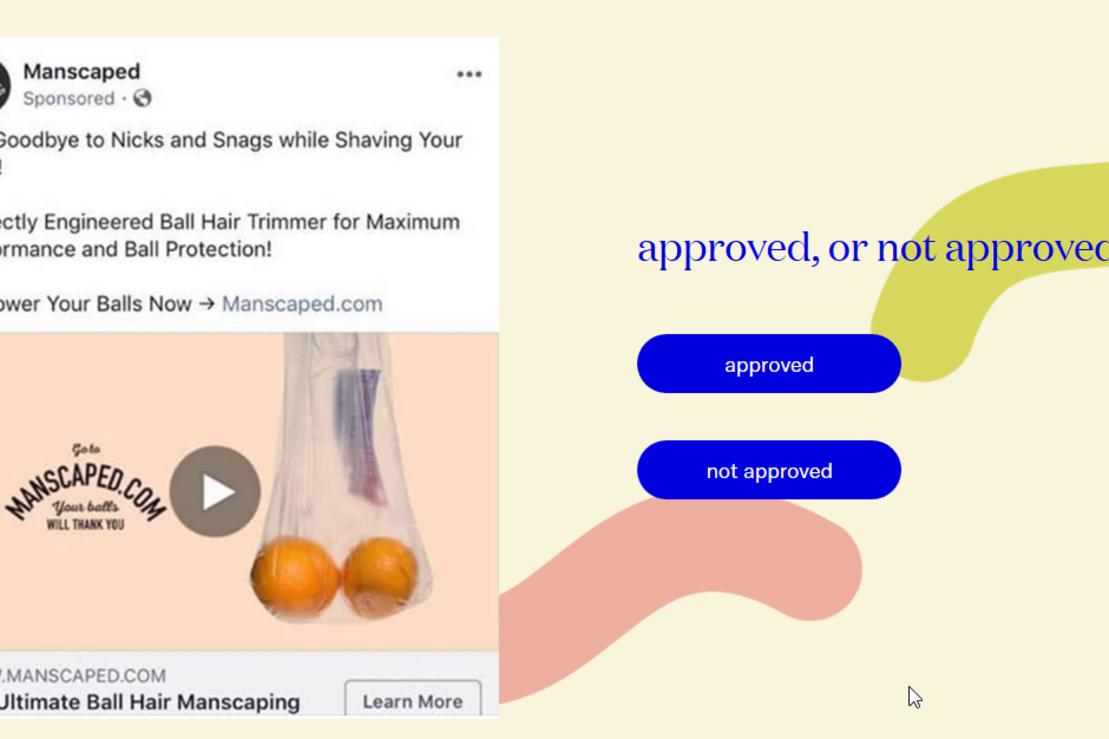 Een voorbeeld van een seksueel getinte, maar goedgekeurde, advertentie, ApprovedNotApproved