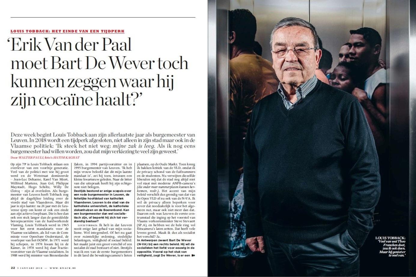 En janvier 2018, dans une interview à Knack, Louis Tobback (sp.a) attaque Bart De Wever et Erik Van der Paal à propos du trafic de cocaïne., .