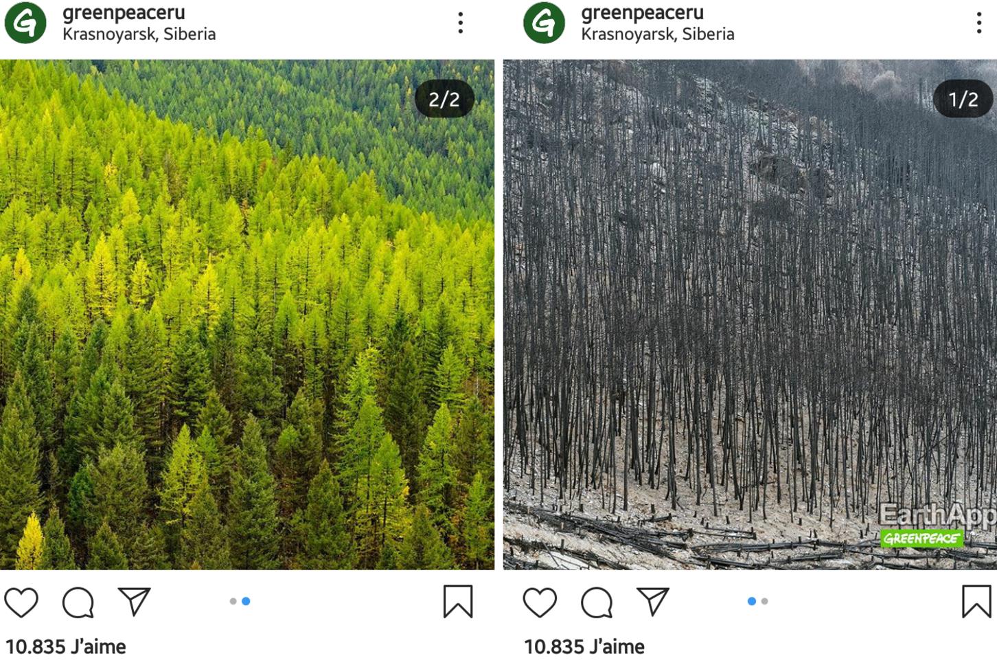 Capture d'écran Instagram, greenpeaceru