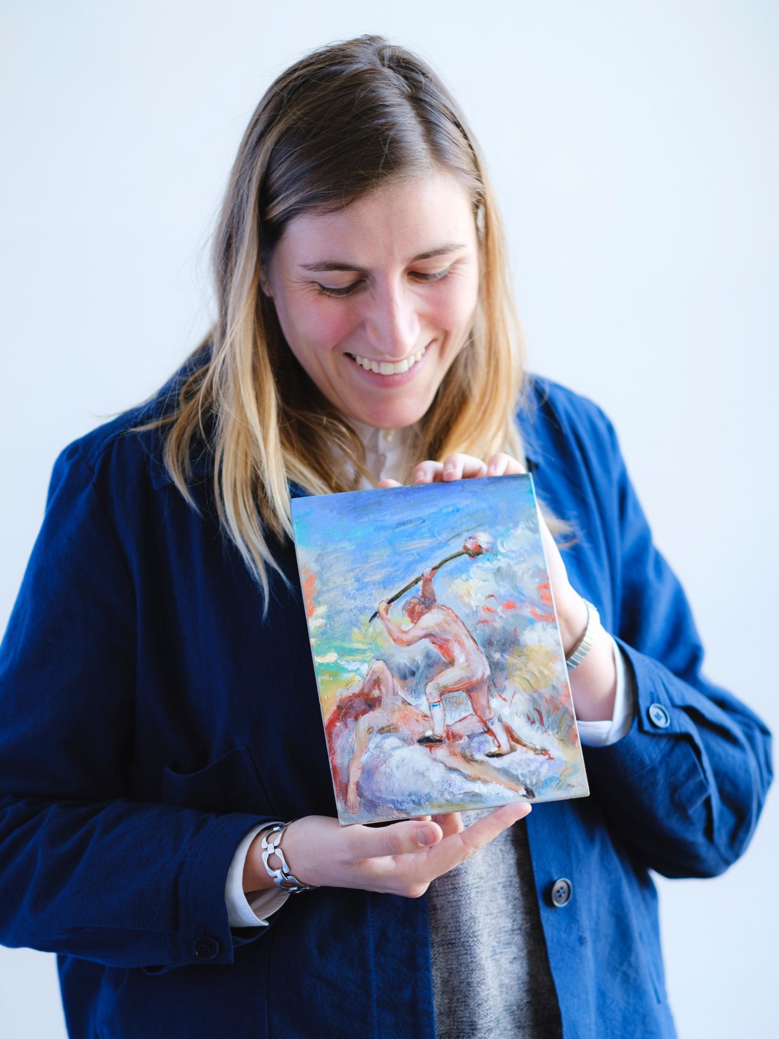 Rozemarijn De Keyser van Start To Collect met een van haar eerste stuks, BAD