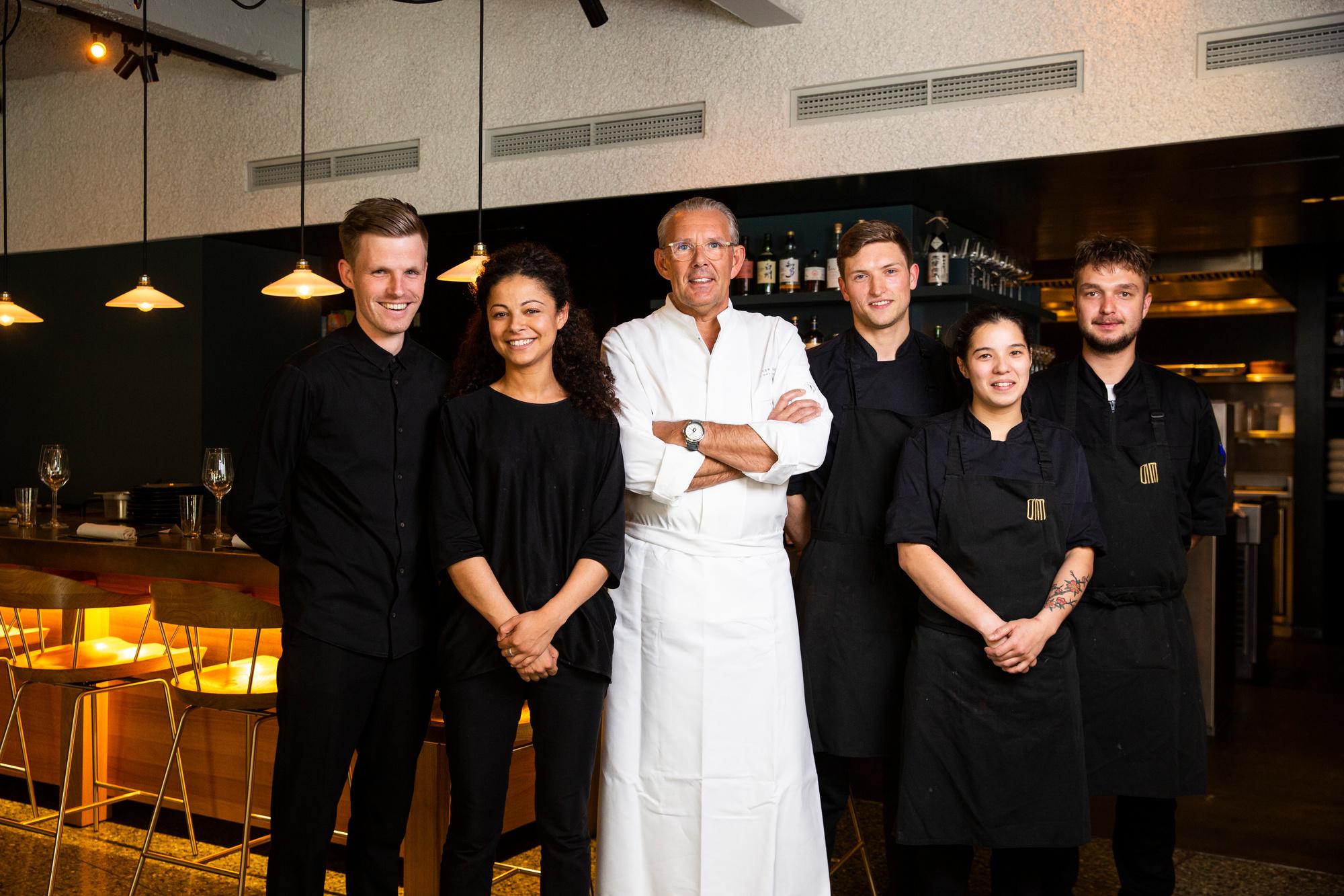 Het team van Dim Dining en driesterrenchef Peter Goossens, Robbie Depuydt