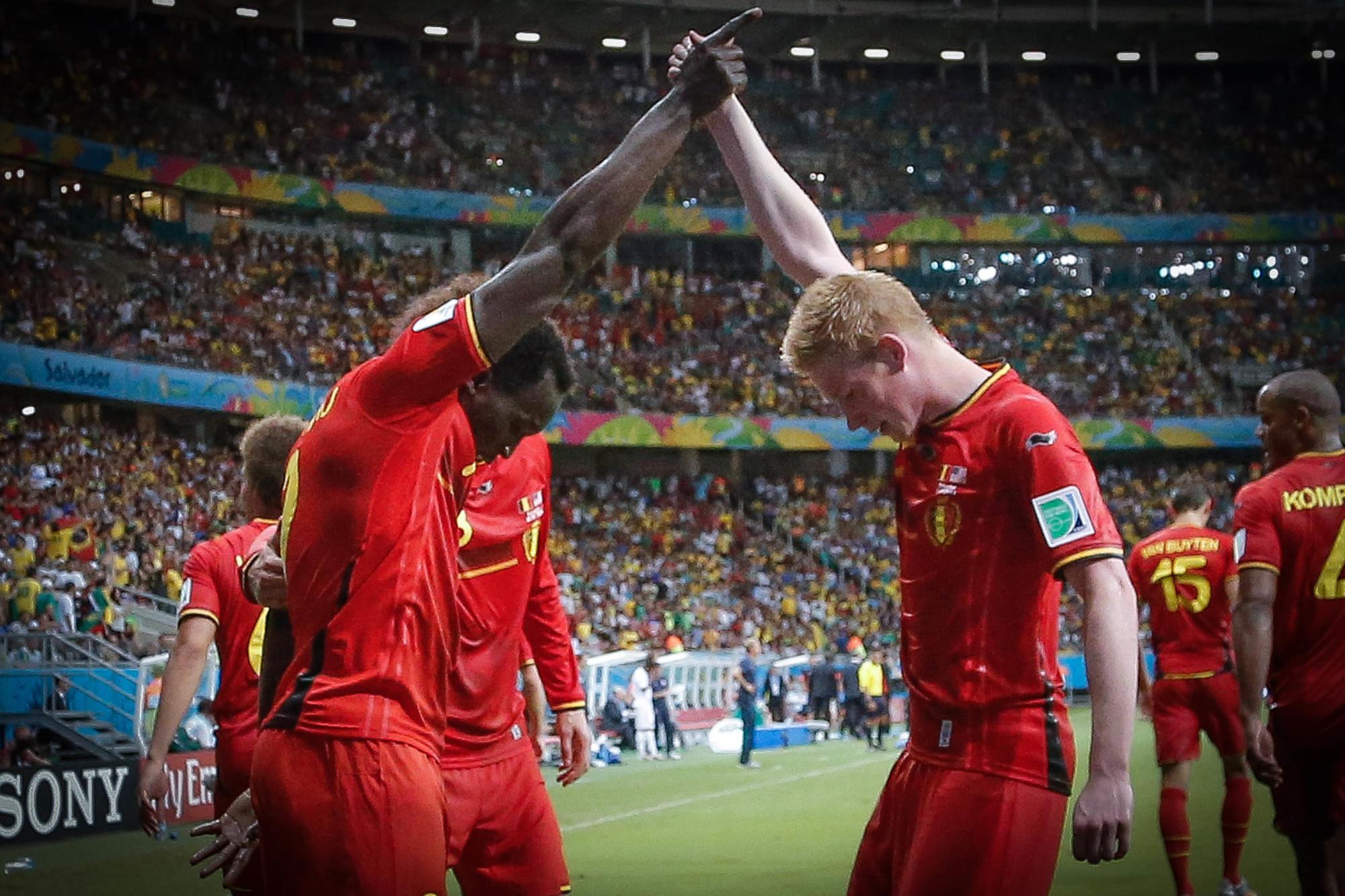 Lukaku en De Bruyne na de 2-1 tegen de VS., Belga