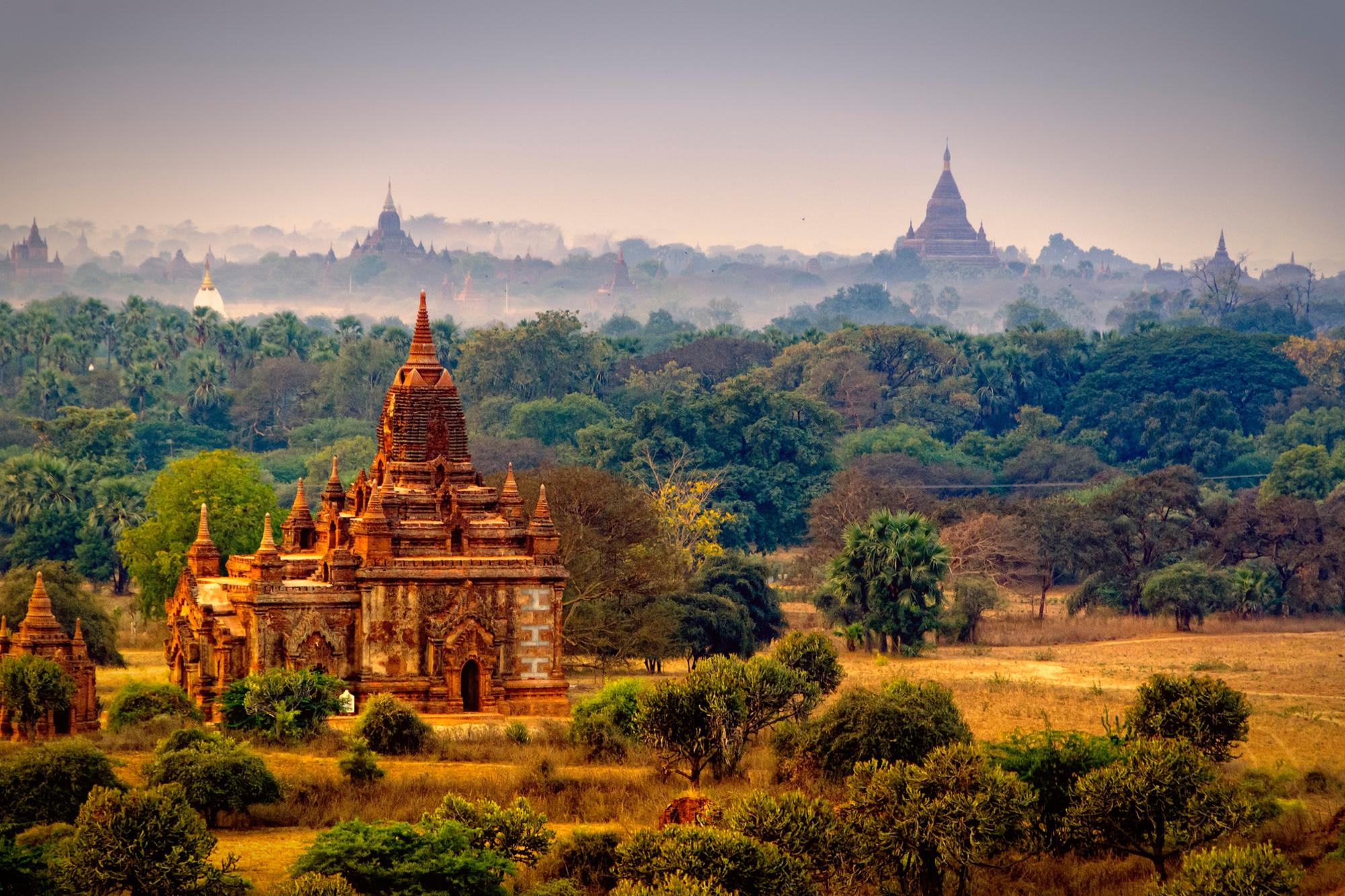 Bagan, tempelstad in Myanmar met meer dan 3.500 boeddhistische tempels en ruïnes, Getty
