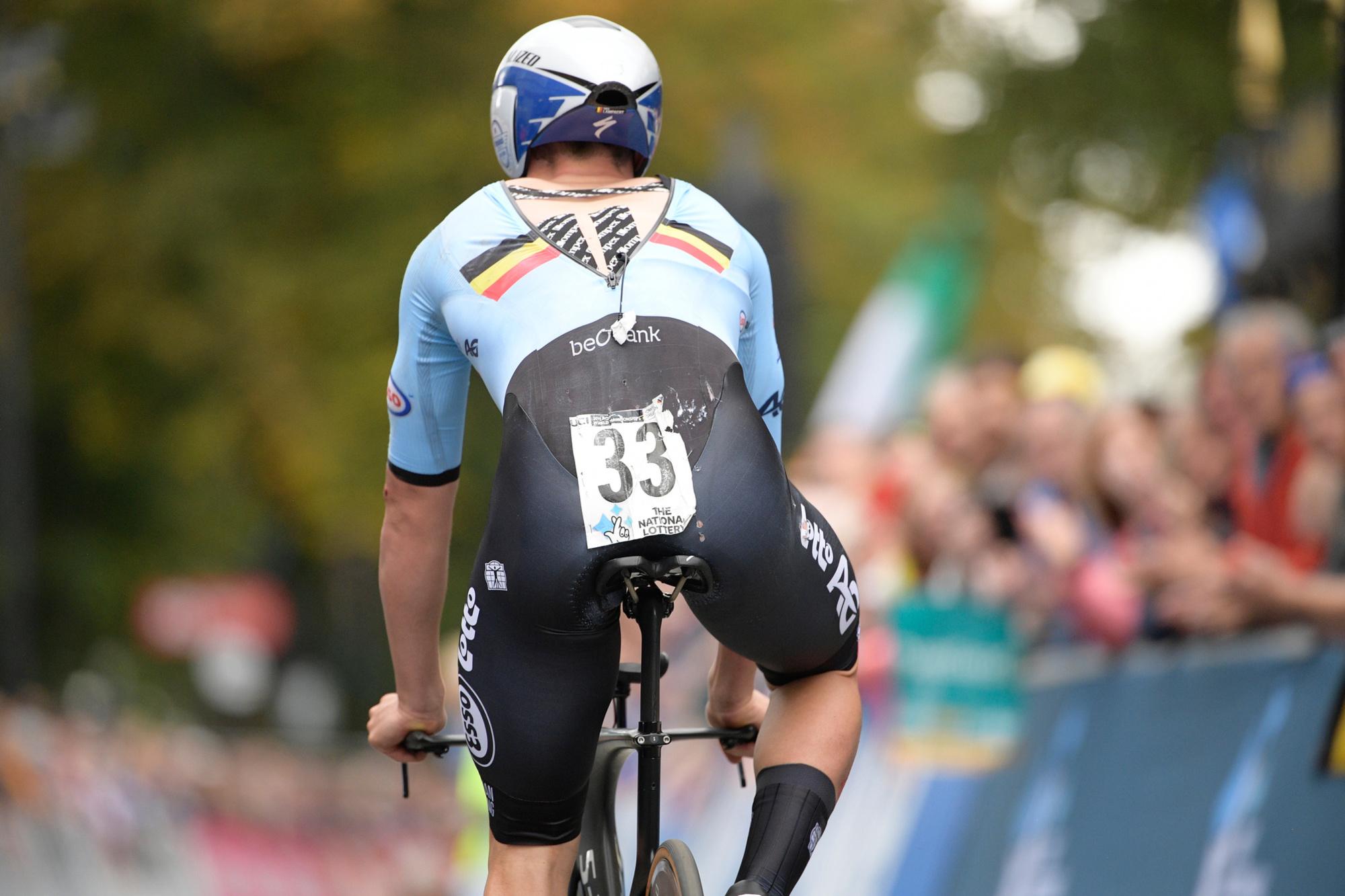 Lampaert viel tijdens de race en eindigde pas op 10 minuten van Dennis., Belga Image