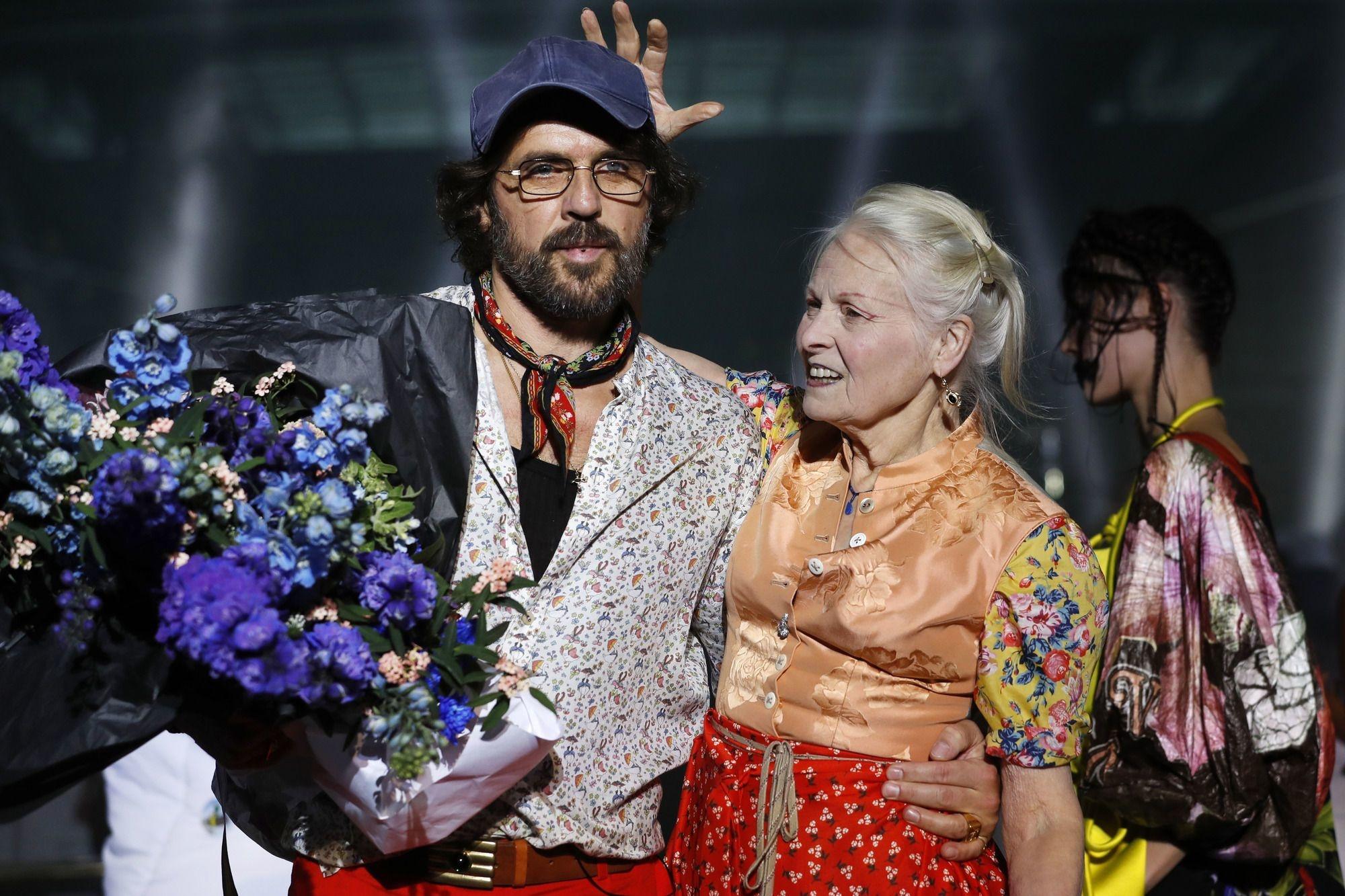 Vivienne Westwood et son mari Andreas Kronthaler , AFP