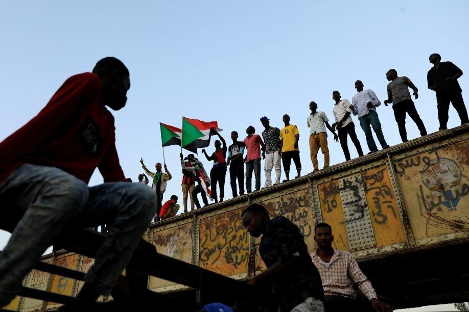 Betogers in de Sudanese hoofdstad Khartoem, 6 mei 2019, Reuters