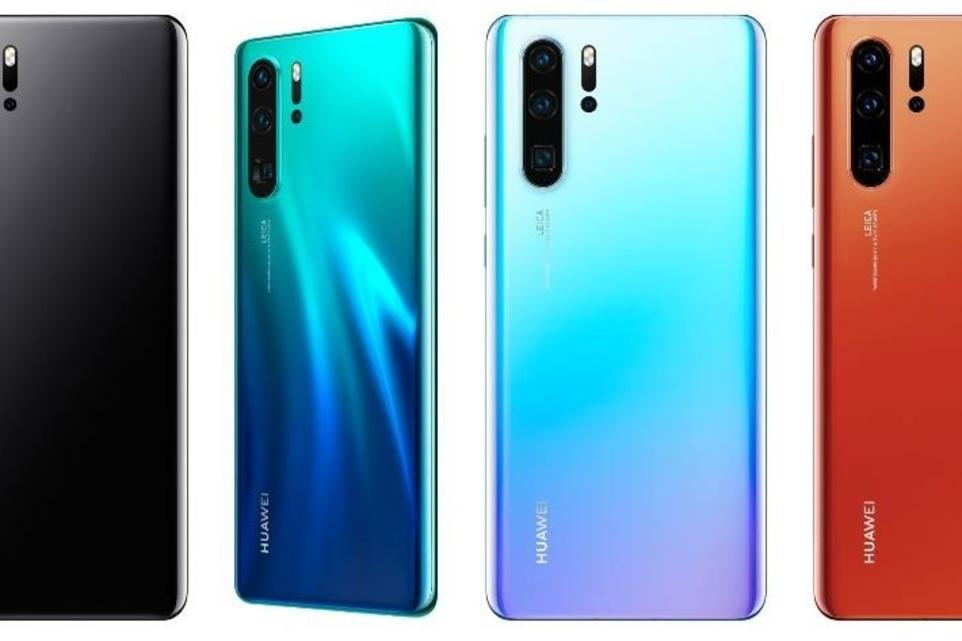 De vier kleuren waarin de Huawei P30 Pro beschikbaar is in ons land., KVdS