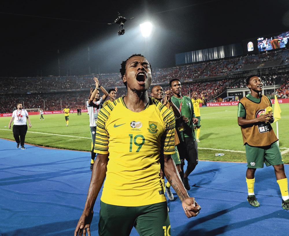 Percy Tau in het shirt van Zuid-Afrika., BELGAIMAGE