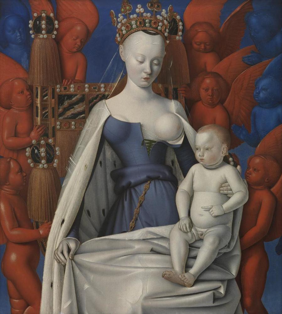 Madonna omringd door serafijnen en cherubijnen van Jean Fouquet (1454 - 1456), KMSKA, Lukas-Art in Flanders vzw, foto Hugo Maertens