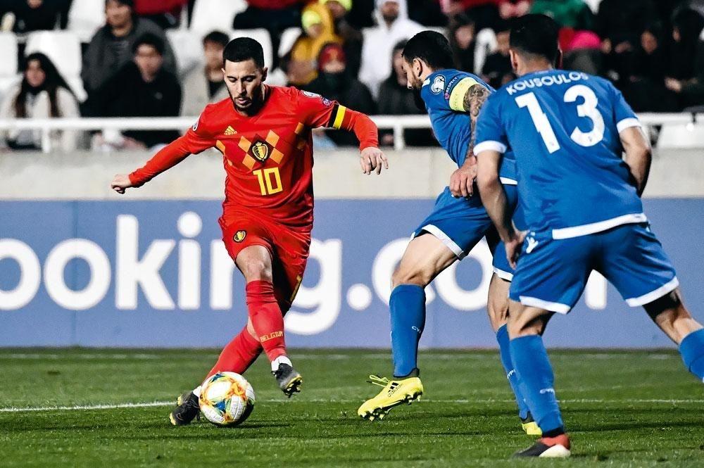 Eden Hazard : un but pour sa centième cap en sélection belge., BELGAIMAGE