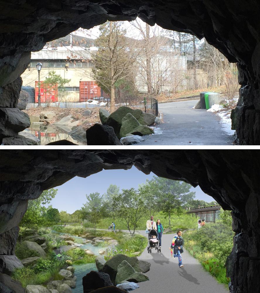 Huddlestone Arch: voor en na de make-over, Central Park Conservancy