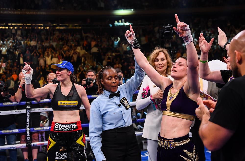 Katie Taylor won de vorige kamp op punten en dat tot groot ongenoegen van Delfine Persoon., Sportsfile via Getty Images