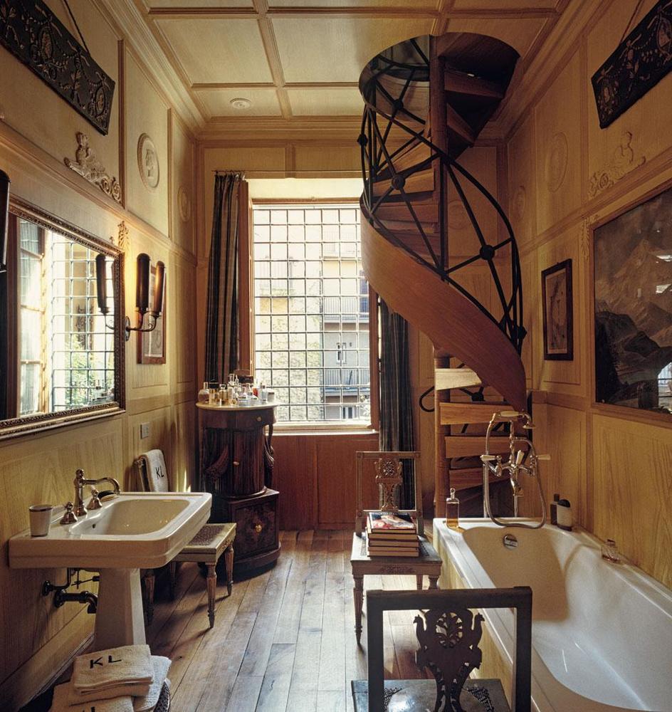 Karl Lagerfeld, résidence Lagerfeld, salle de bains, Rome, Italie., fritz von der schulenburg