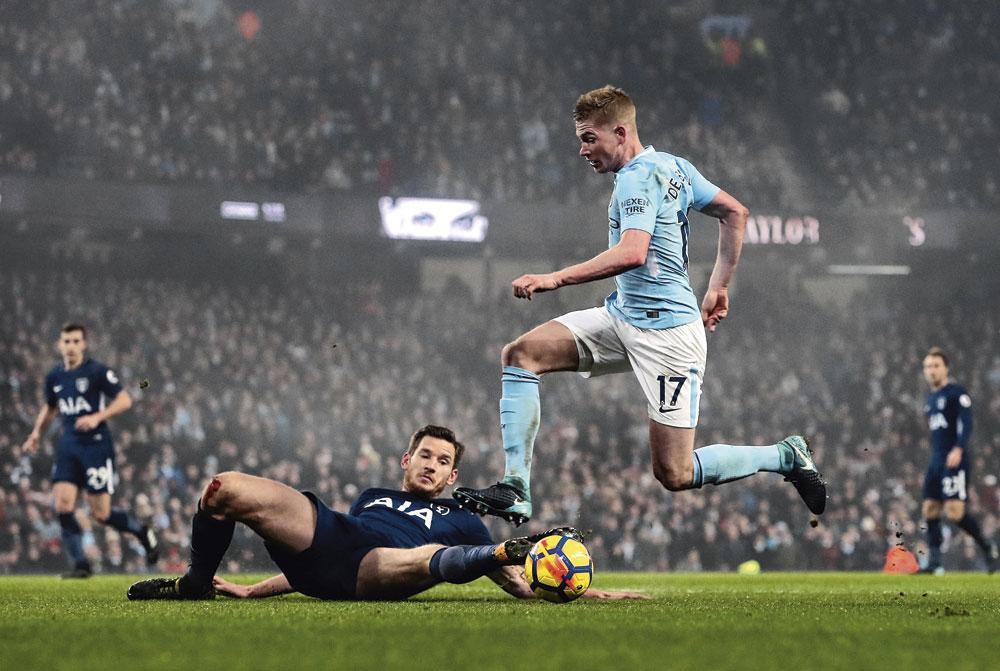 Jan Vertonghen en Kevin De Bruyne van respectievelijk Tottenham Hotspur en Manchester City spelen nog bij een topclub., belgaimage