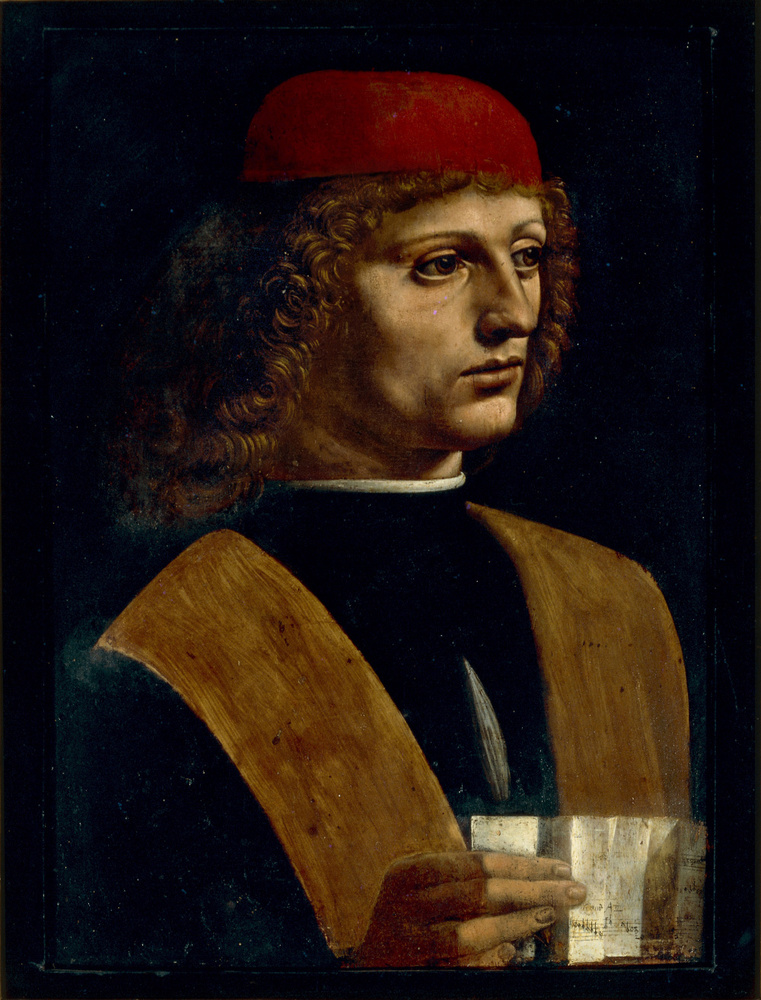 'Portrait de jeune homme tenant une partition', dit 'Le Musicien', vers 1483-1490., Veneranda Biblioteca Ambrosiana