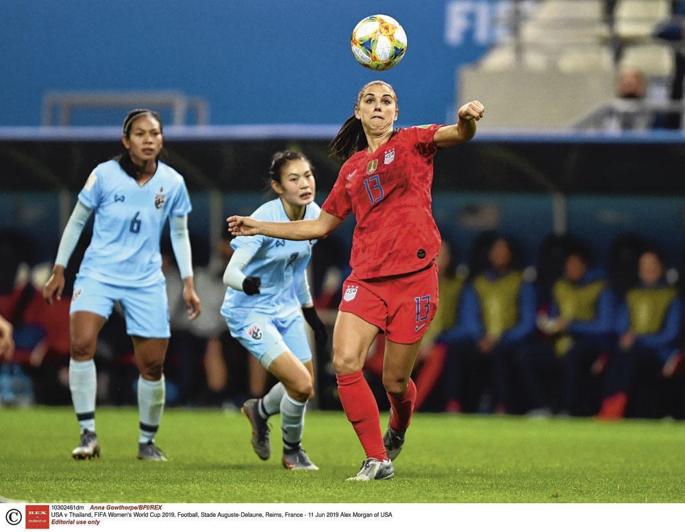 Alex Morgan maakte maar liefst vijf goals in de 13-0-overwinning tegen Thailand op het WK in Frankrijk., belgaimage