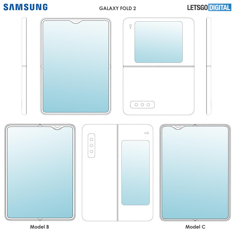 Deze schetsen kunnen wijzen op de opvolger van de Samsung Galaxy Fold, Samsung/Let's Go Digital