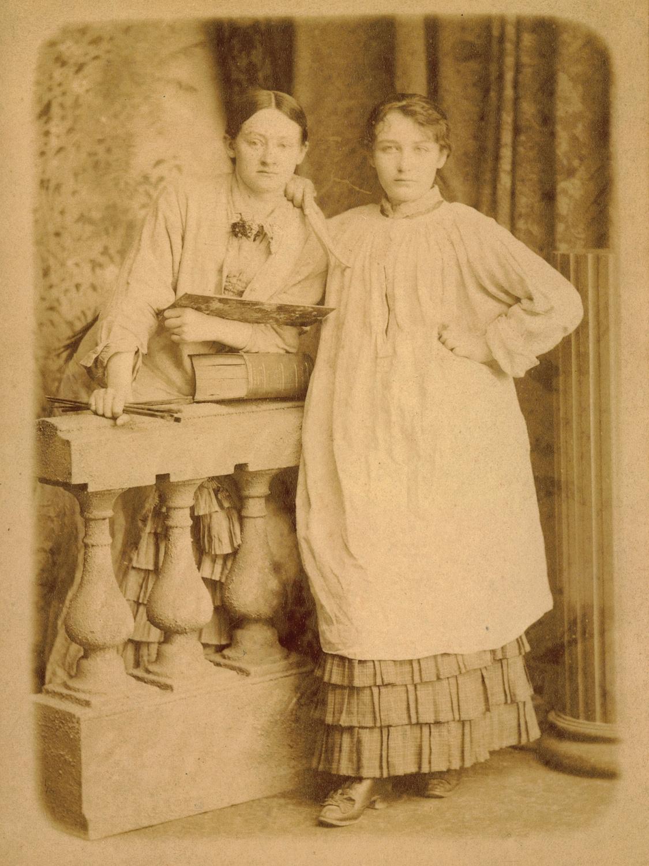 Camille Claudel en Ghita Theuriet door Victor Pannelier, 1881., Camille Claudel et Ghita Theuriet