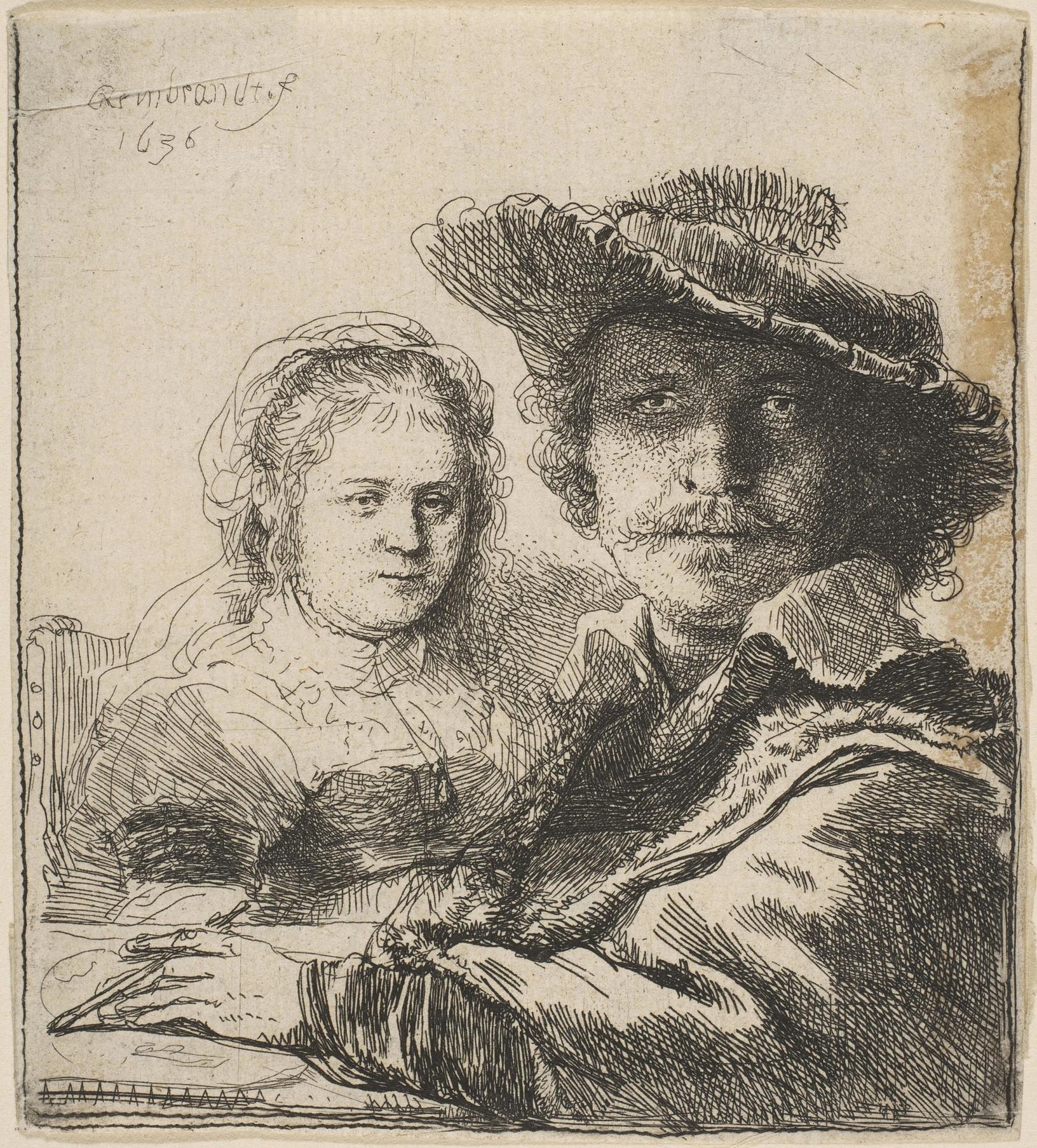 Het werk 'Zelfportret met Saskia' van kunstschilder Rembrandt., McArthurGlen Designer Outlet