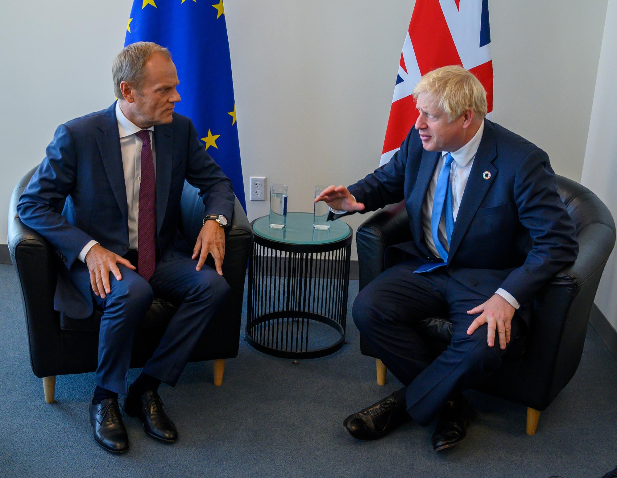 Le Premier ministre britannique Boris Johnson et le président du Conseil européen Donald Tusk (archives), BELGAIMAGE
