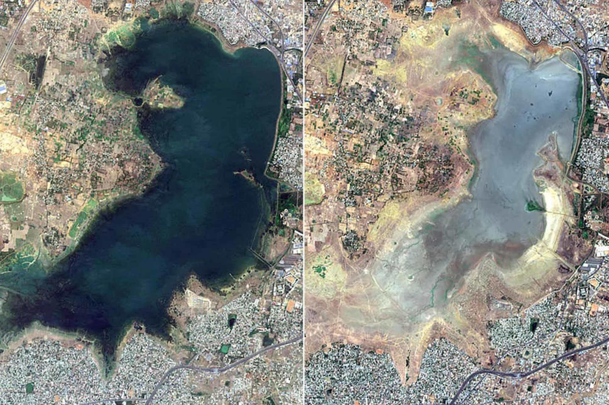 Image satellite. A gauche, le réservoir du lac Puzhal en juin 2018. A droite, un an plus tard., Copernicus Sentinel-2 Satellite Image/Maxar Technologies/AP