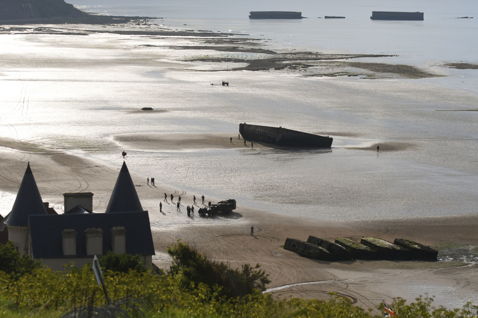 Mulberry harbour dans la baie d'Arromanches, le 4 juin 2019, Getty Images