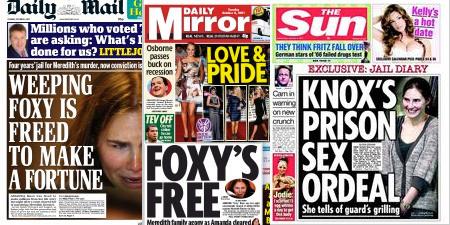 """""""Foxy Knoxy"""", surmon d'Amanda Knox dans les tabloids britanniques, DR"""