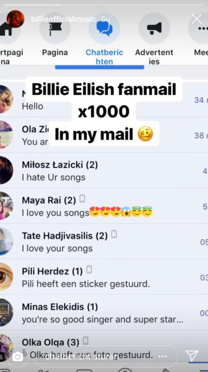 Billie wordt bestookt met berichten van fans en af en toe een hater., gf